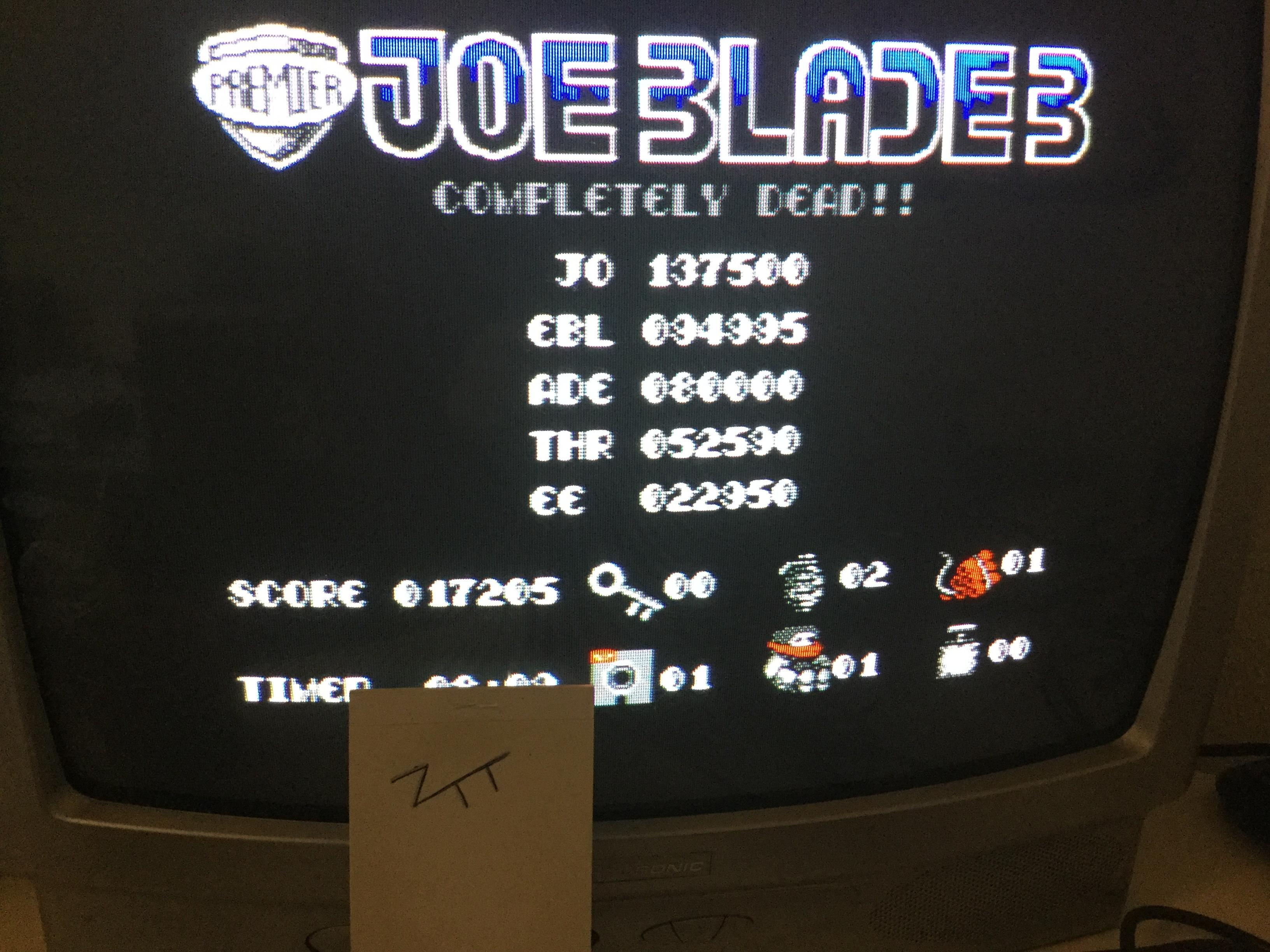 Frankie: Joe Blade 3 (Amstrad CPC) 17,205 points on 2017-02-12 04:29:16