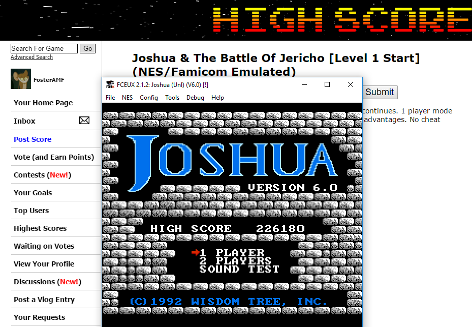 FosterAMF: Joshua & The Battle Of Jericho [Level 1 Start] (NES/Famicom Emulated) 226,180 points on 2016-01-12 12:44:36