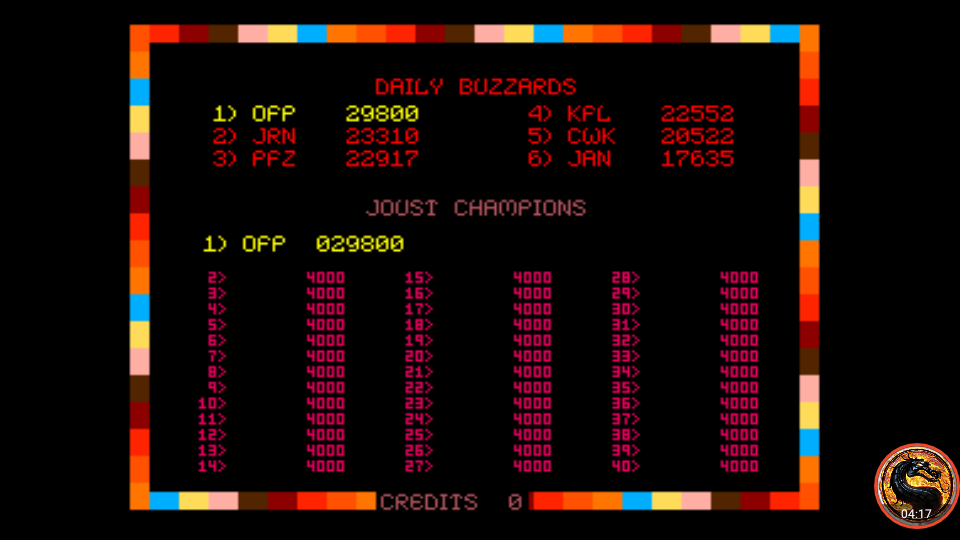omargeddon: Joust (Arcade Emulated / M.A.M.E.) 29,800 points on 2019-12-23 22:13:31
