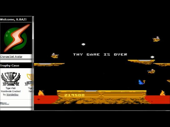 S.BAZ: Joust: Beginner (Atari 7800 Emulated) 219,500 points on 2016-02-27 22:34:50