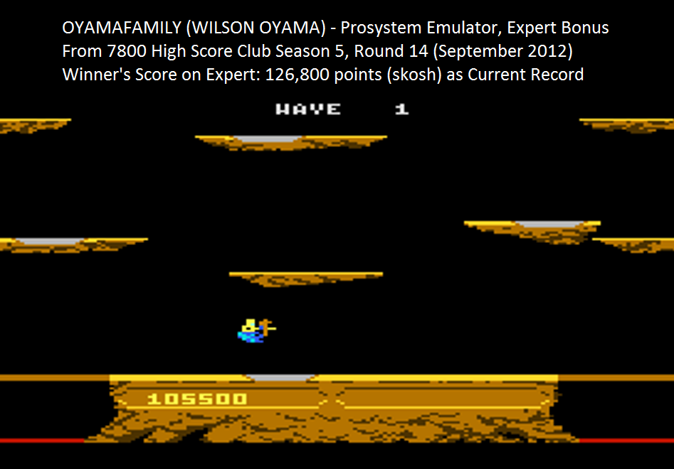 oyamafamily: Joust: Expert (Atari 7800 Emulated) 105,500 points on 2015-08-29 05:39:09
