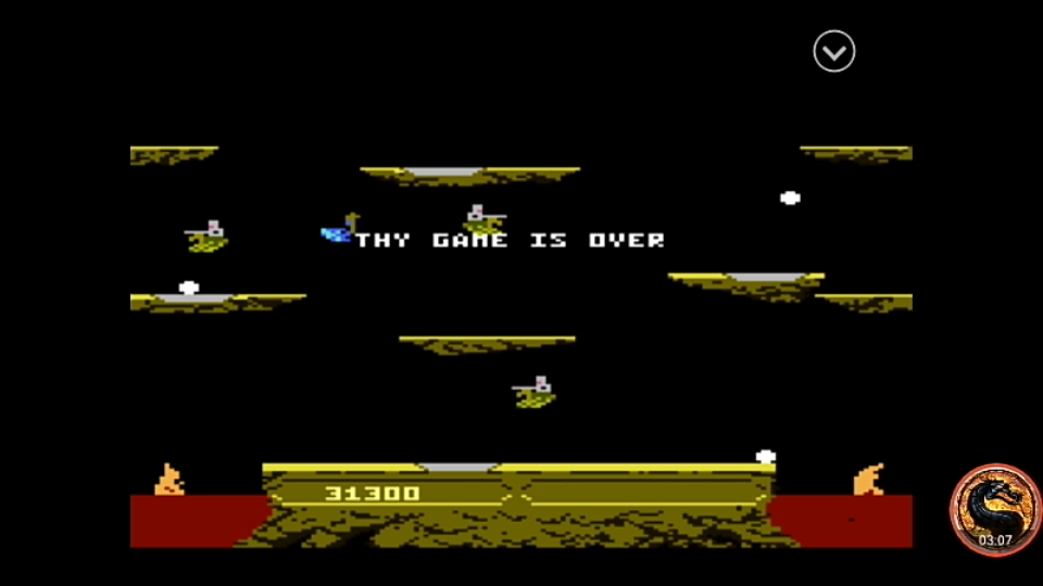 omargeddon: Joust: Expert (Atari 7800 Emulated) 31,300 points on 2019-12-23 19:52:53