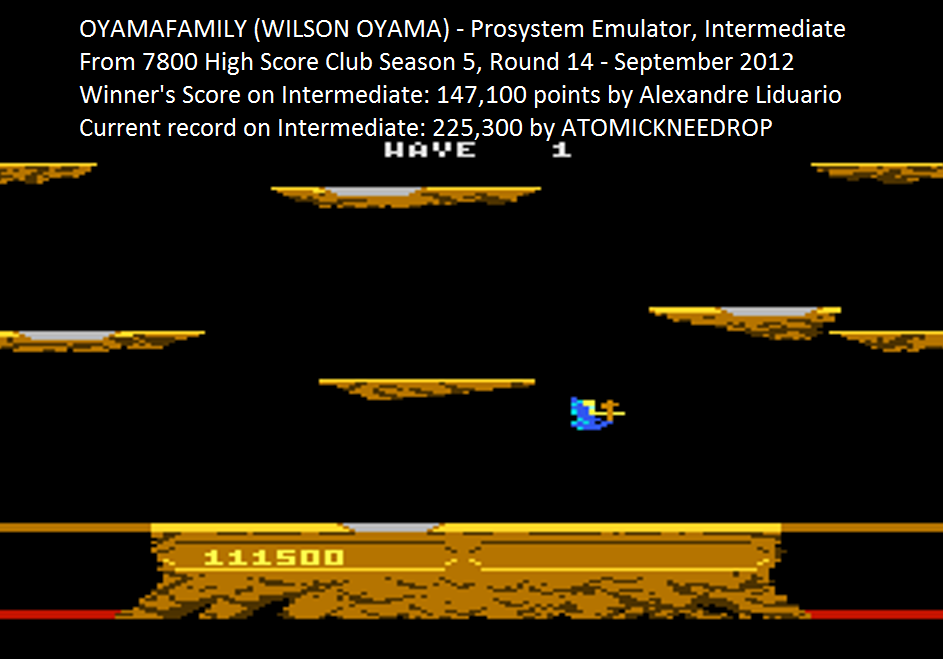 oyamafamily: Joust: Intermediate (Atari 7800 Emulated) 111,500 points on 2015-08-29 05:38:45