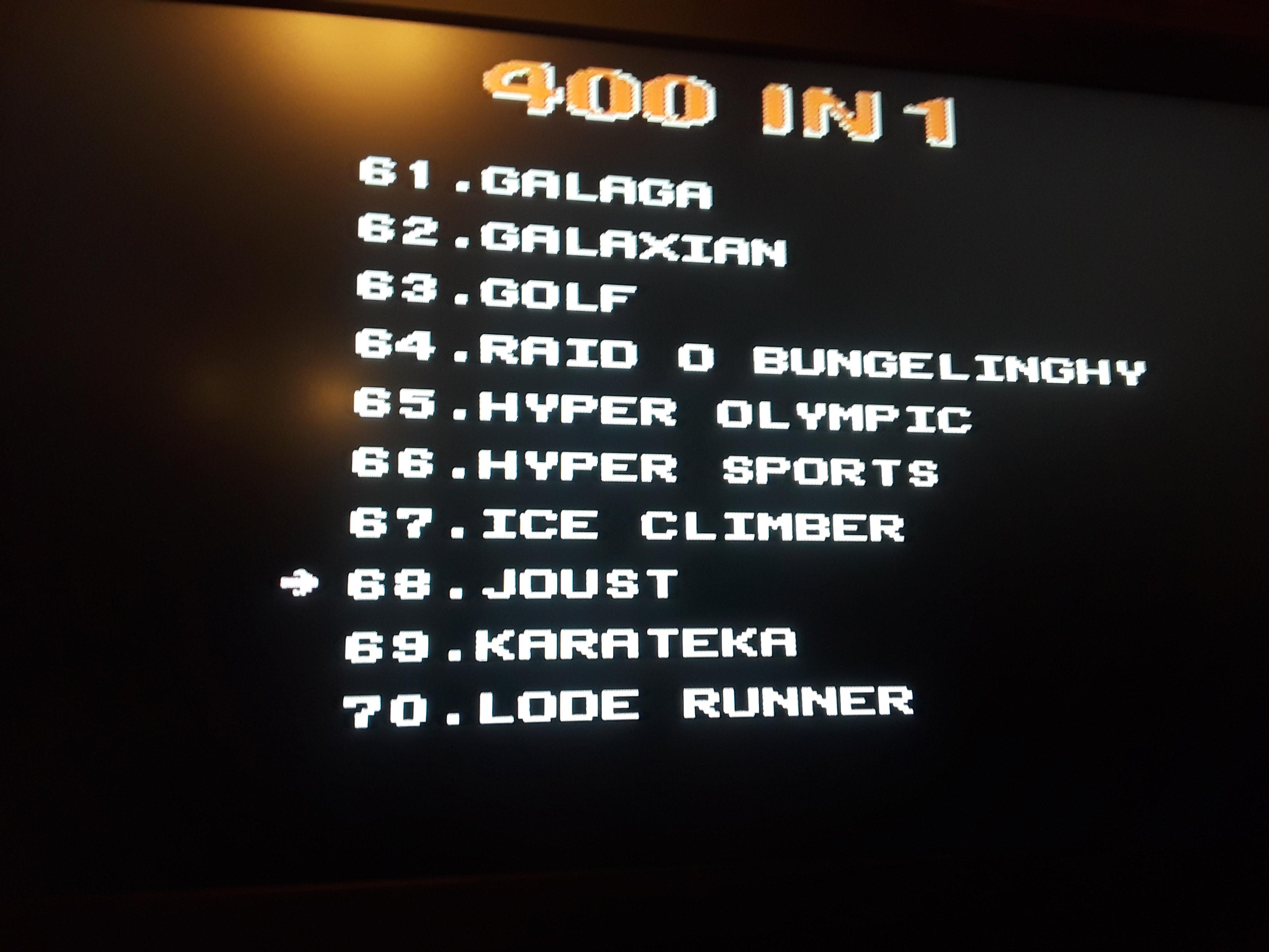Joust 8,500 points