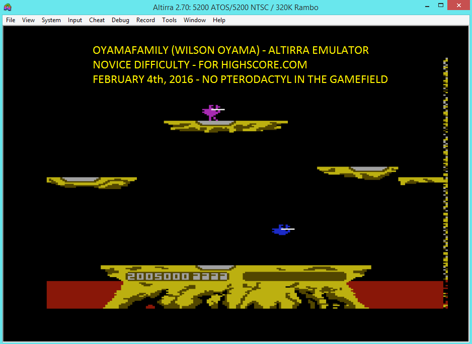 oyamafamily: Joust: Novice (Atari 5200 Emulated) 2,005,000 points on 2016-02-04 18:24:28