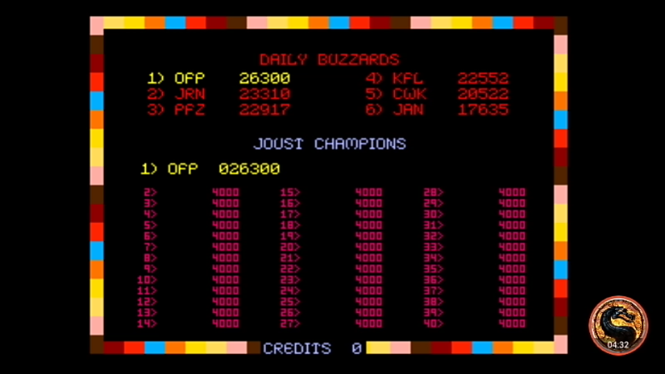 omargeddon: Joust [Solid Red Label] [joustr] (Arcade Emulated / M.A.M.E.) 26,300 points on 2019-12-27 13:05:39
