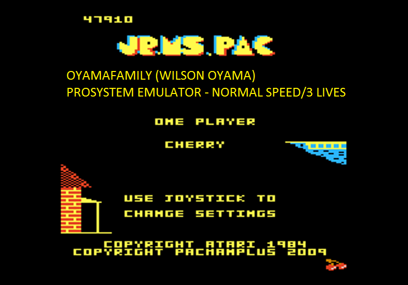 oyamafamily: Jr. Ms. Pac-Man: Cherries Start (Atari 7800 Emulated) 47,910 points on 2016-03-01 19:29:16
