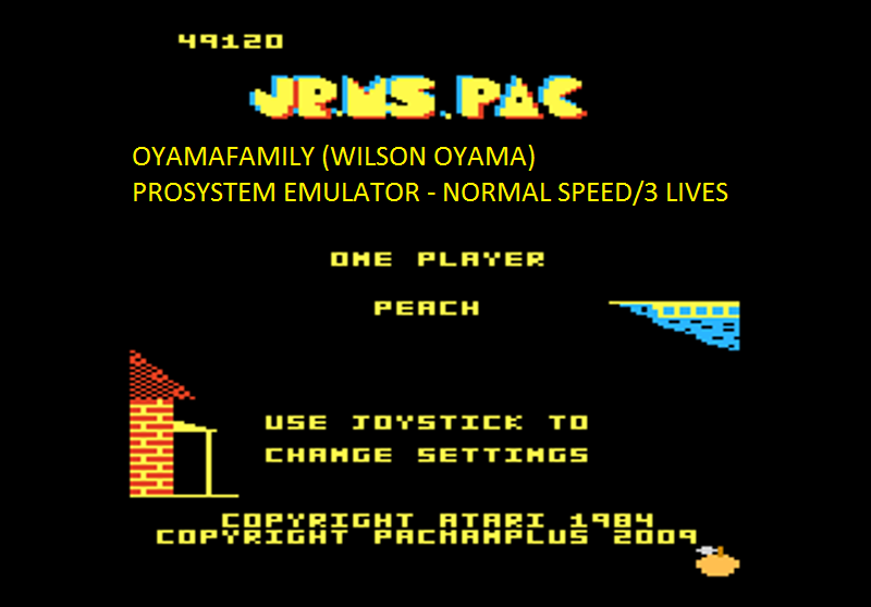 oyamafamily: Jr. Ms. Pac-Man: Orange Start (Atari 7800 Emulated) 49,120 points on 2016-03-01 19:29:31