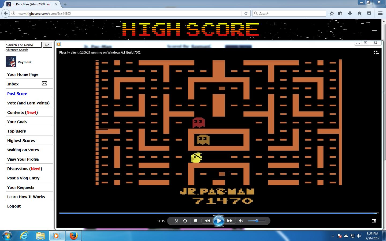 RaymanC: Jr. Pac-Man (Atari 2600 Emulated) 71,470 points on 2017-02-26 18:48:20