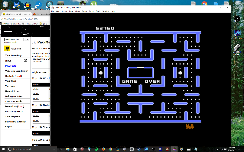 MikeDietrich: Jr. Pac-Man (Atari 400/800/XL/XE Emulated) 52,760 points on 2017-07-30 21:23:43