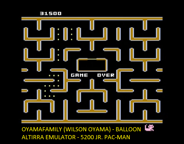 oyamafamily: Jr. Pac-Man [Balloon Start] (Atari 5200 Emulated) 31,500 points on 2016-06-29 19:39:36
