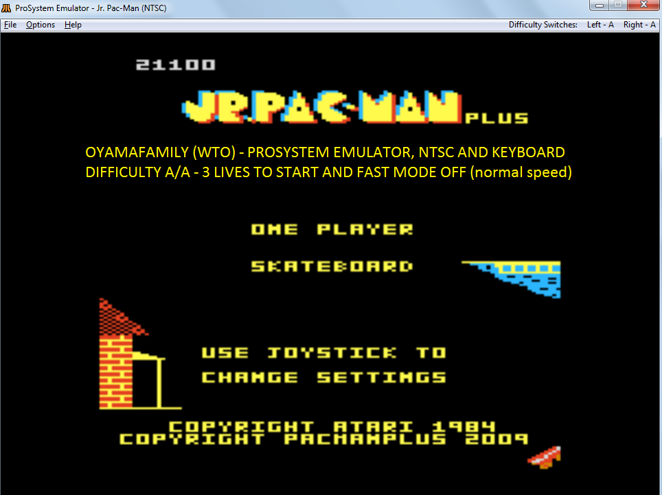 oyamafamily: Jr. Pac-Man Plus: Difficulty AA [Skateboard] (Atari 7800 Emulated) 21,100 points on 2017-11-15 14:24:53