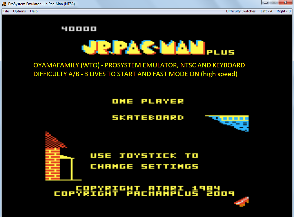 oyamafamily: Jr. Pac-Man Plus: Difficulty AB [Skateboard] (Atari 7800 Emulated) 40,000 points on 2017-11-15 14:25:20