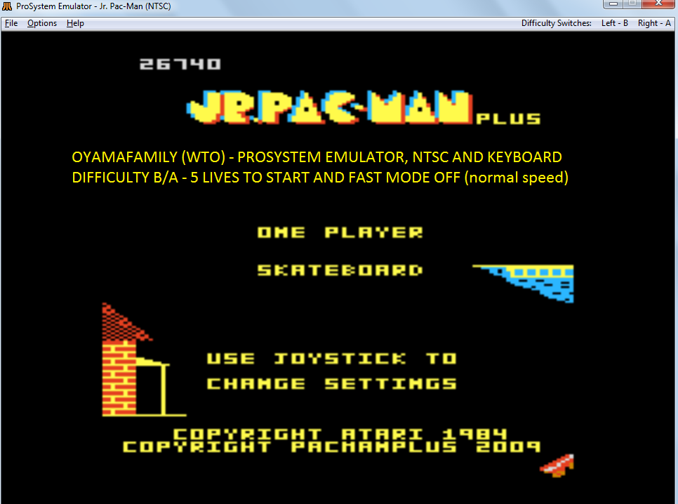 oyamafamily: Jr. Pac-Man Plus: Difficulty BA [Skateboard] (Atari 7800 Emulated) 26,740 points on 2017-11-15 14:26:06