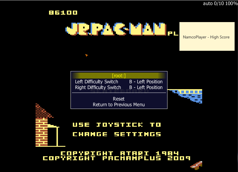 NamcoPlayer: Jr. Pac-Man Plus: Difficulty BB [Skateboard] (Atari 7800 Emulated) 86,100 points on 2020-11-29 15:41:25