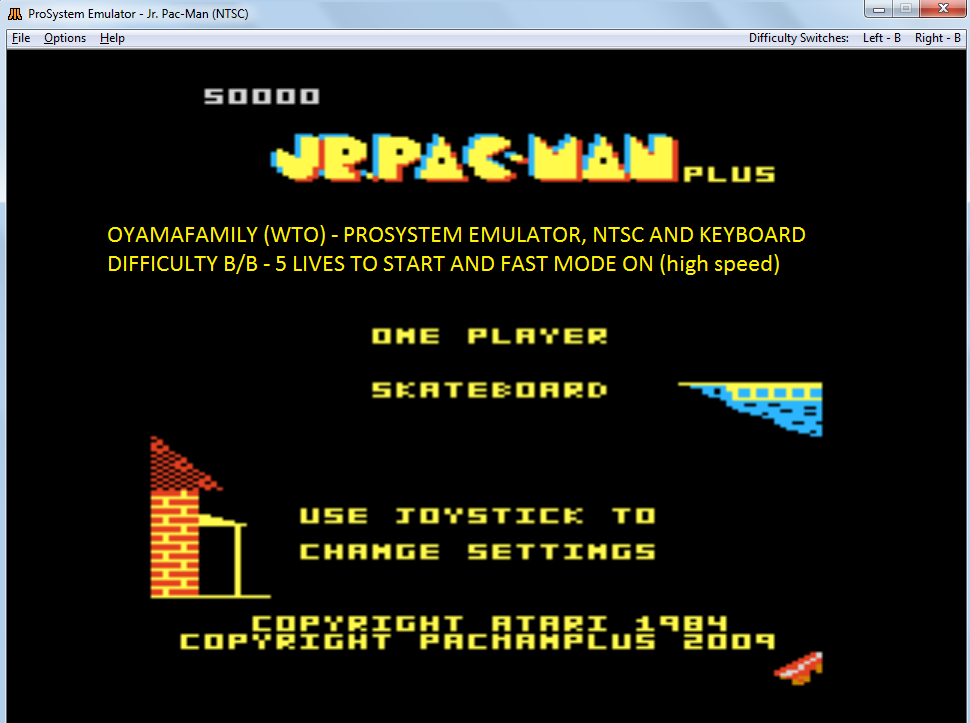 oyamafamily: Jr. Pac-Man Plus: Difficulty BB [Skateboard] (Atari 7800 Emulated) 50,000 points on 2017-11-15 14:26:33