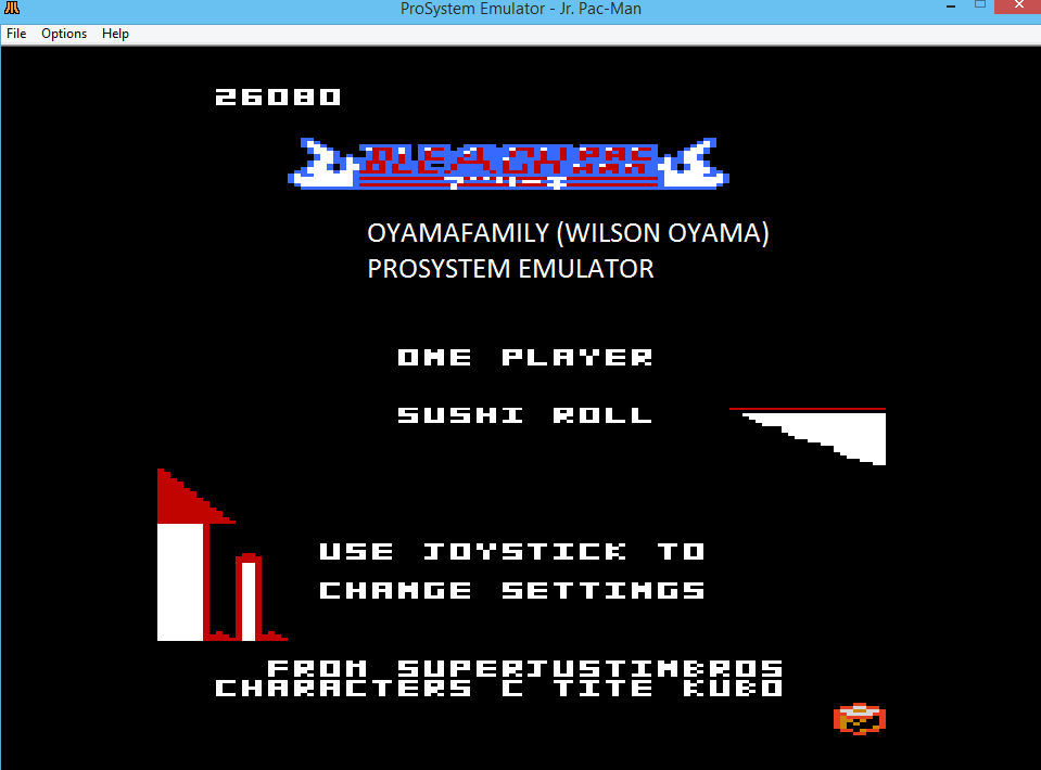 oyamafamily: Jr. Pac-Man: Sushi Start (Atari 7800 Emulated) 26,080 points on 2016-03-06 12:33:30