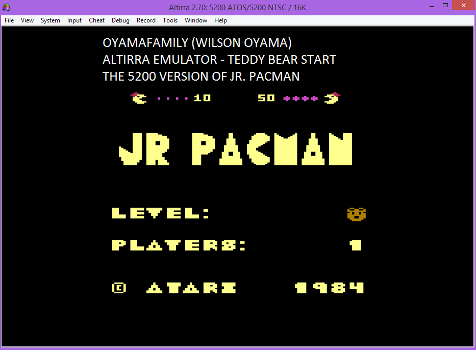 oyamafamily: Jr. Pac-Man [Teddy Bear Start] (Atari 5200 Emulated) 72,480 points on 2016-06-25 20:57:48