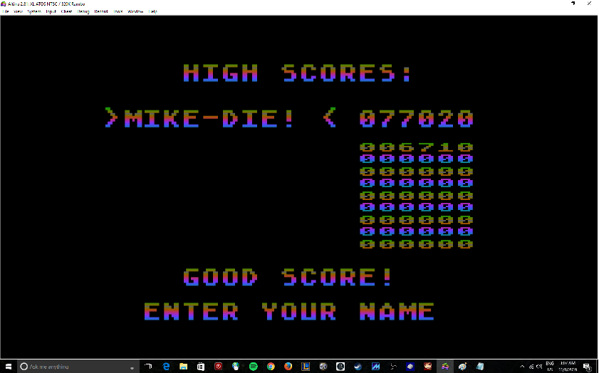 MikeDietrich: Juice! (Atari 400/800/XL/XE Emulated) 77,020 points on 2016-11-08 03:10:02