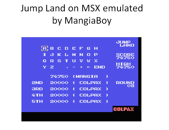 MangiaBoy: Jump Land (MSX Emulated) 74,750 points on 2016-02-28 13:27:51
