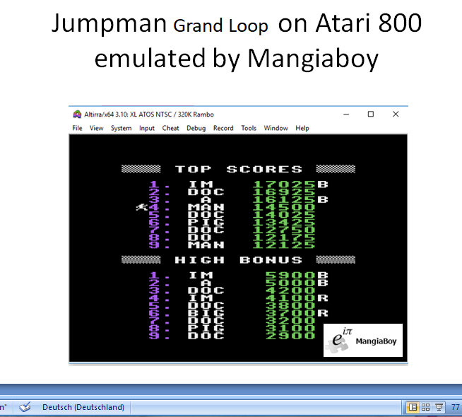 MangiaBoy: Jumpman: Grand Loop (Atari 400/800/XL/XE Emulated) 14,500 points on 2019-01-27 15:13:29