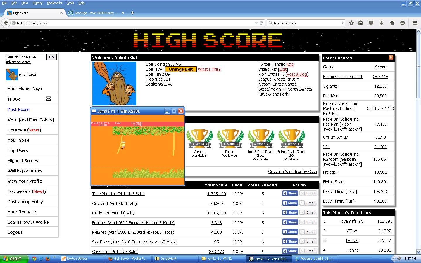 DakotaKid: Jungle Hunt: Advanced (Atari 5200 Emulated) 1,900 points on 2015-09-16 21:02:01