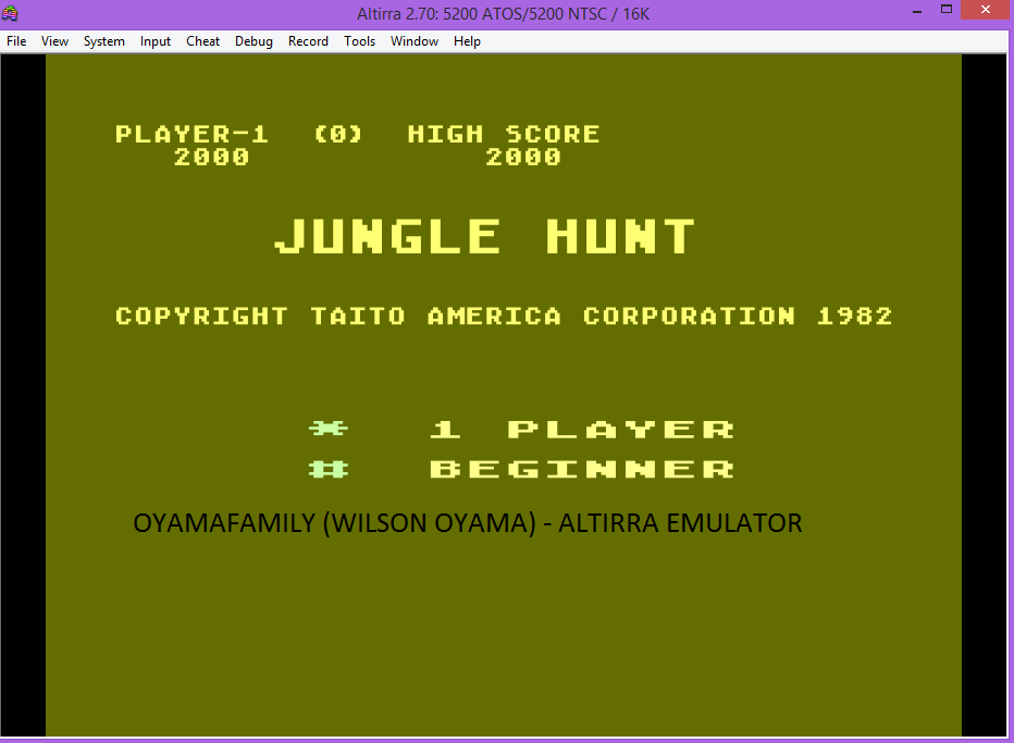 oyamafamily: Jungle Hunt: Beginner (Atari 5200 Emulated) 2,000 points on 2016-07-30 15:15:08