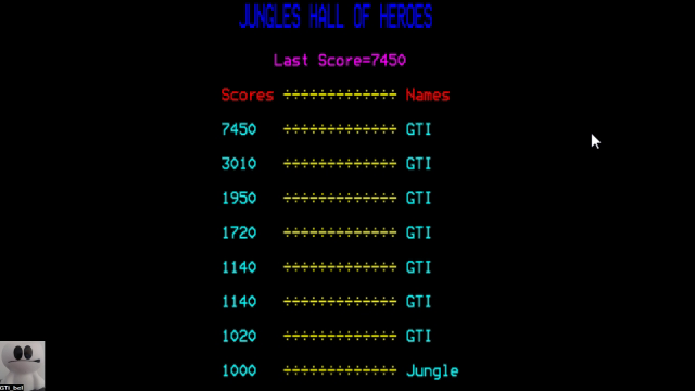 GTibel: Jungle Jive (BBC Micro Emulated) 7,450 points on 2017-11-16 02:40:49