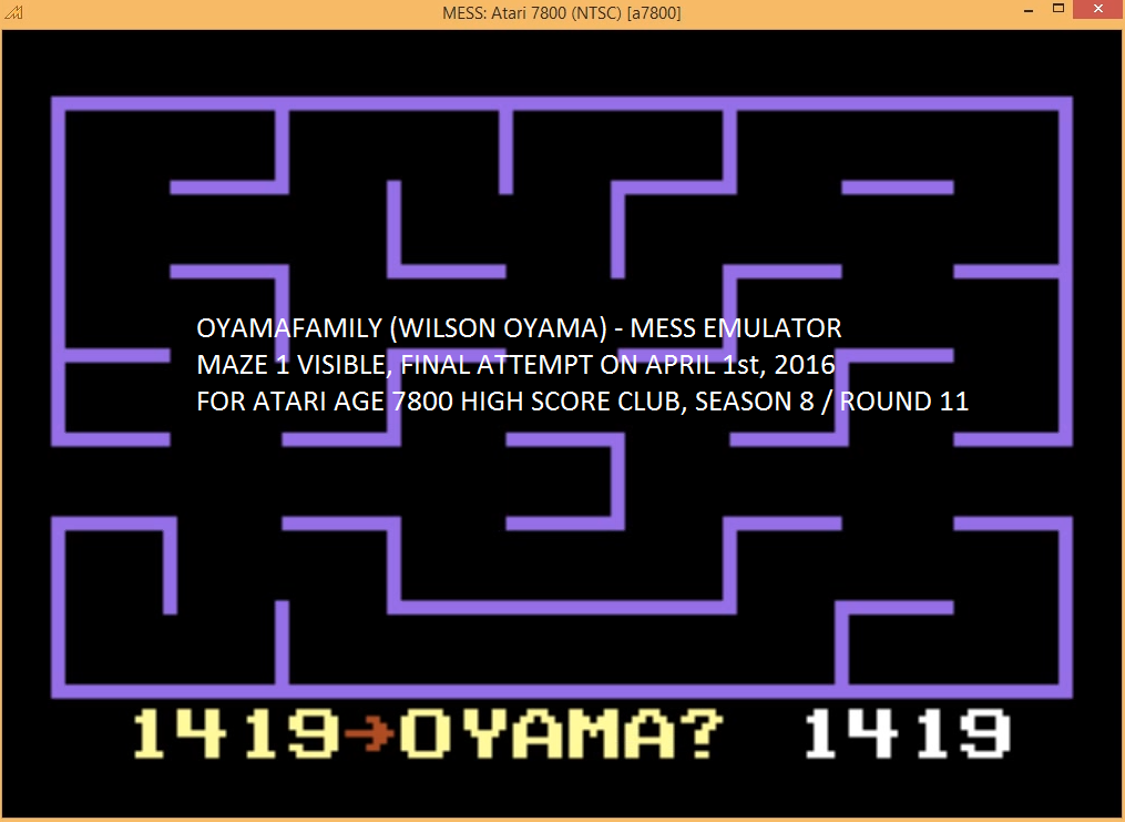 oyamafamily: K.C. Munchkin: Maze 1 (Atari 7800 Emulated) 1,419 points on 2016-04-13 17:11:38