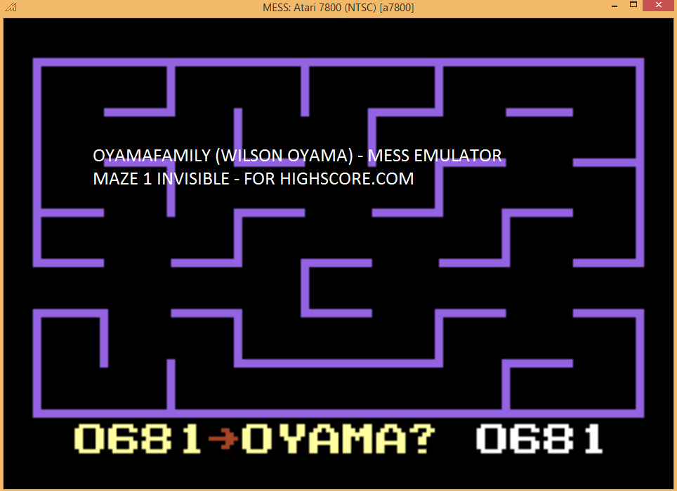 oyamafamily: K.C. Munchkin: Maze 1 [Invisible] (Atari 7800 Emulated) 681 points on 2016-03-25 18:45:45