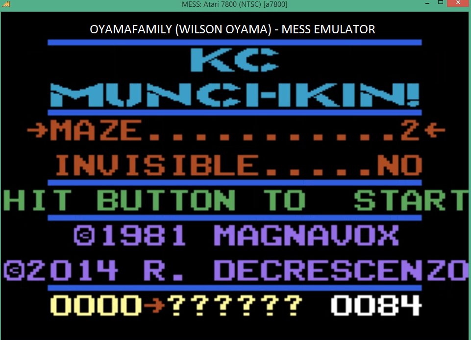 oyamafamily: K.C. Munchkin: Maze 2 (Atari 7800 Emulated) 1,117 points on 2016-03-27 19:16:14
