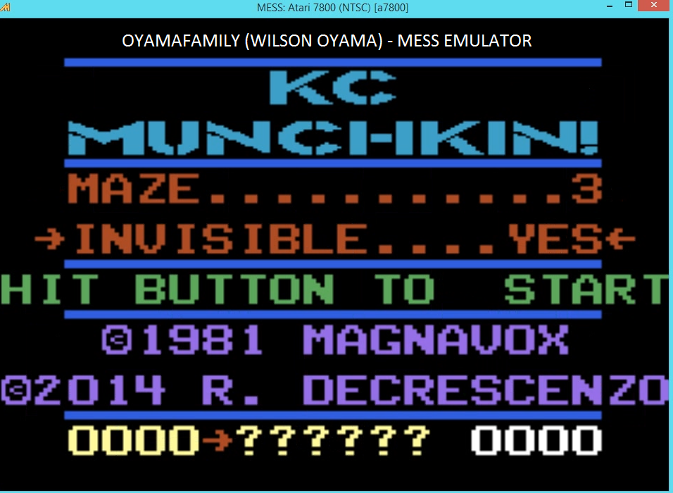 oyamafamily: K.C. Munchkin: Maze 3 [Invisible] (Atari 7800 Emulated) 85 points on 2016-03-27 19:10:52