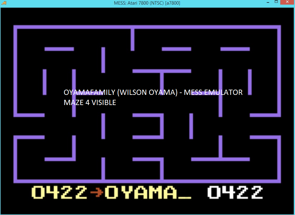 oyamafamily: K.C. Munchkin: Maze 4 (Atari 7800 Emulated) 422 points on 2016-03-27 18:58:13