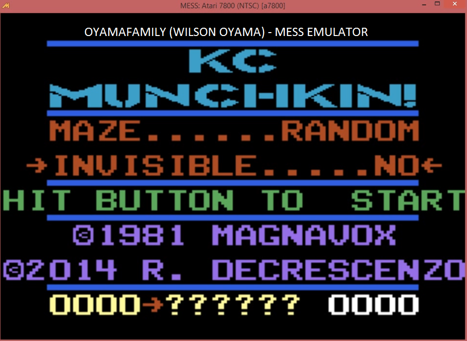 oyamafamily: K.C. Munchkin: Random Mazes (Atari 7800 Emulated) 376 points on 2016-03-27 18:55:44