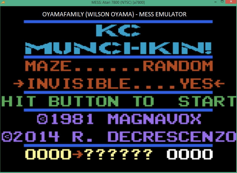 oyamafamily: K.C. Munchkin: Random Mazes [Invisible] (Atari 7800 Emulated) 186 points on 2016-03-27 19:10:27
