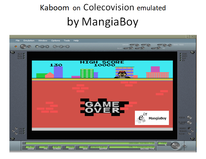 MangiaBoy: Kaboom [Large Buckets] (Colecovision Emulated) 130 points on 2018-05-11 20:17:38