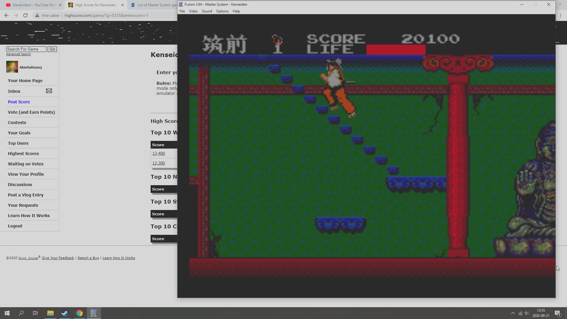 AkinNahtanoj: Kenseiden (Sega Master System Emulated) 20,100 points on 2020-09-21 17:03:12