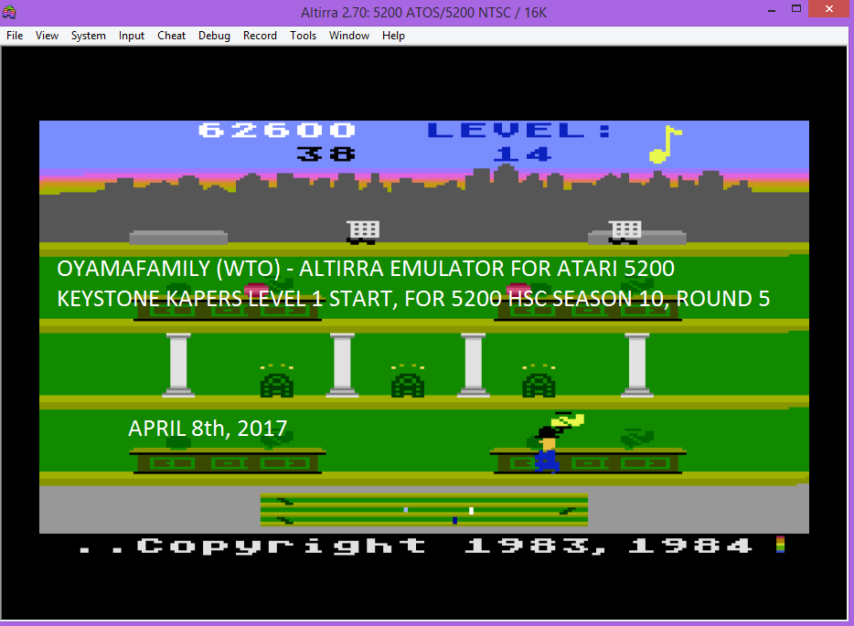 oyamafamily: Keystone Kapers: Skill 1 (Atari 5200 Emulated) 62,600 points on 2017-04-16 18:44:00