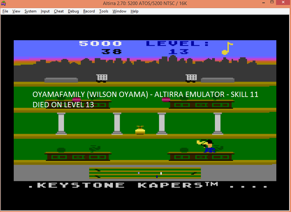 oyamafamily: Keystone Kapers: Skill 11 (Atari 5200 Emulated) 5,000 points on 2016-04-24 18:56:11