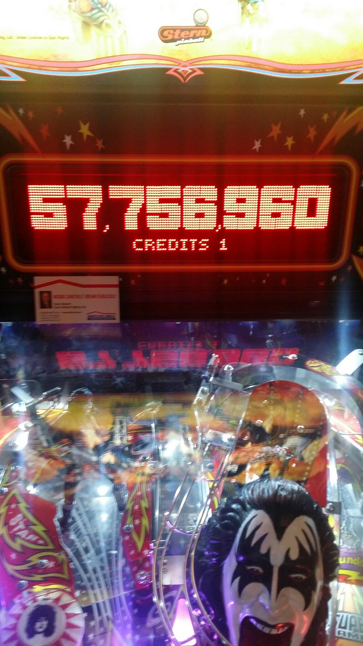 SeanStewart: Kiss [Stern Pinball] (Pinball: 3 Balls) 57,756,960 points on 2017-05-18 10:48:38