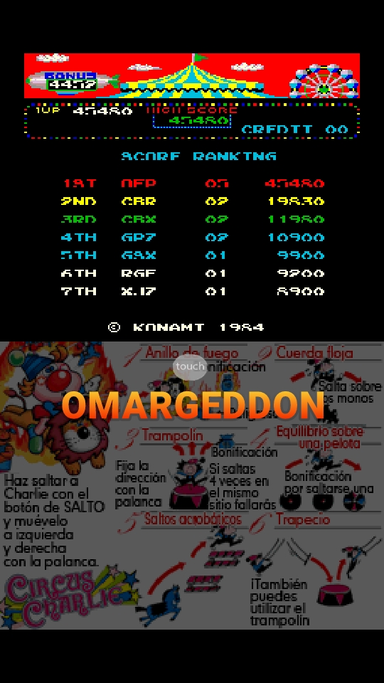 omargeddon: Konami Classics Series: Arcade Hits: Circus Charlie (Nintendo DS Emulated) 45,480 points on 2018-10-21 15:55:27