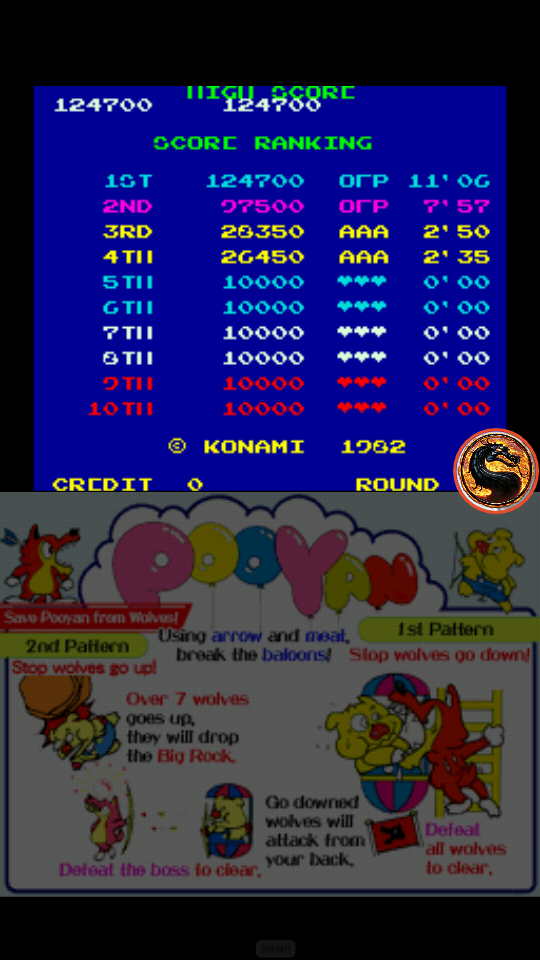 omargeddon: Konami Classics Series: Arcade Hits: Pooyan (Nintendo DS Emulated) 124,700 points on 2019-06-17 01:53:26