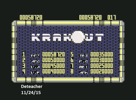 Deteacher: Krakout (Commodore 64 Emulated) 58,720 points on 2015-11-24 12:34:16