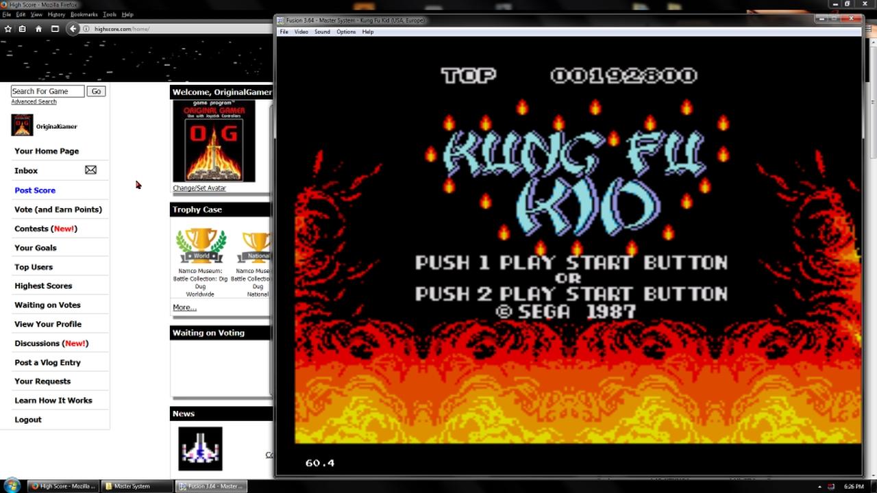 OriginalGamer: Kung Fu Kid (Sega Master System Emulated) 192,800 points on 2018-02-19 18:18:58