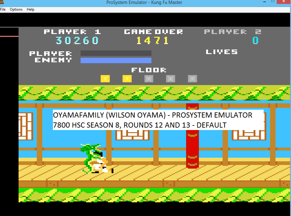 oyamafamily: Kung Fu Master (Atari 7800 Emulated) 30,260 points on 2016-04-17 11:17:49