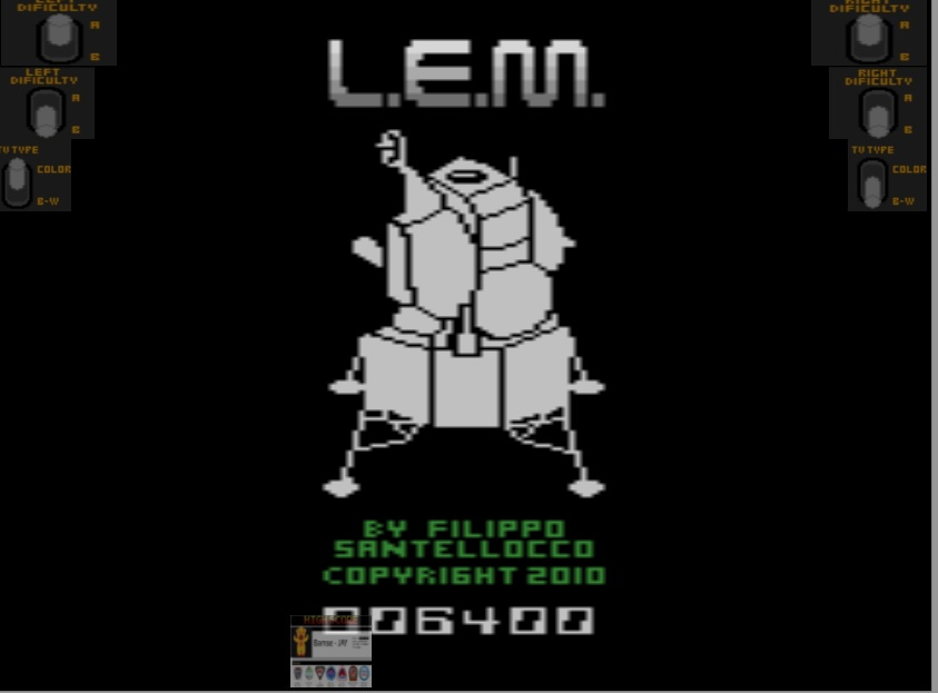 Bamse: L.E.M. (Atari 2600 Emulated) 6,400 points on 2019-12-17 11:21:34