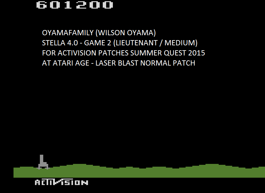 oyamafamily: Laser Blast: Game 2 (Atari 2600 Emulated Novice/B Mode) 601,200 points on 2015-08-06 19:03:59