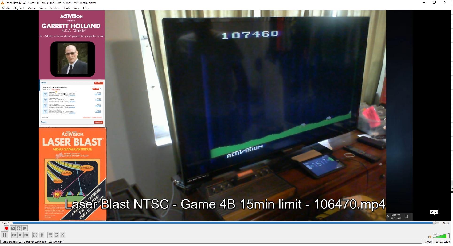 ZilchSr: Laser Blast: Game 4 (Atari 2600 Novice/B) 107,460 points on 2019-10-05 16:18:42