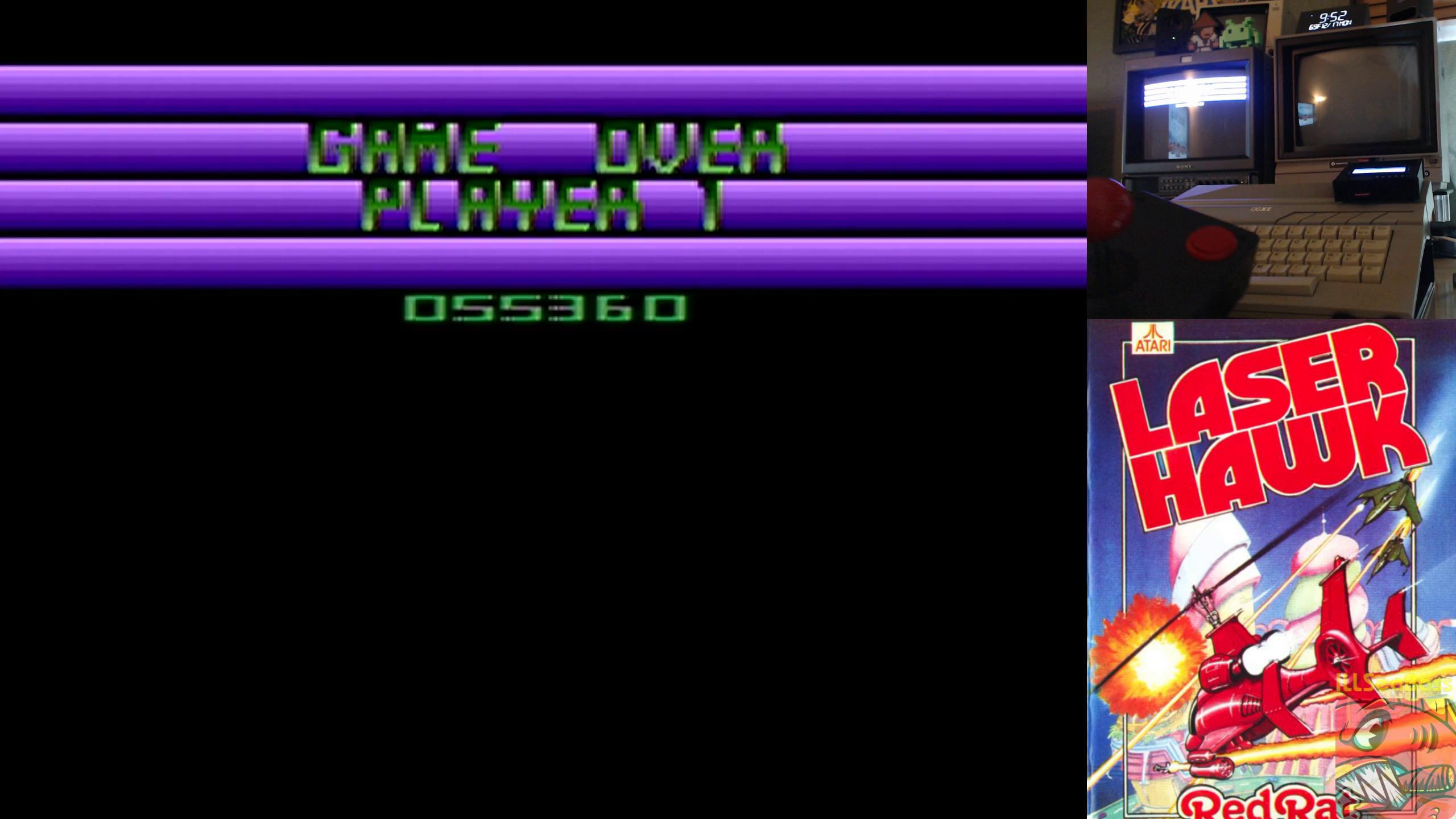 ILLSeaBass: Laser Hawk (Atari 400/800/XL/XE) 55,360 points on 2018-12-19 01:40:08