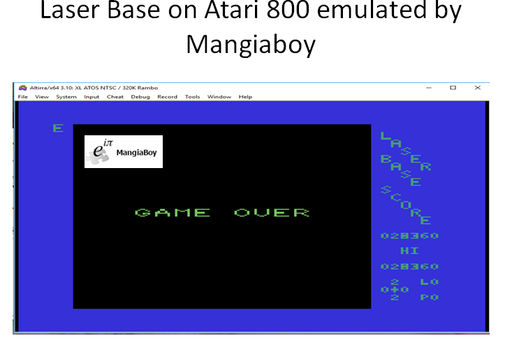 MangiaBoy: Laserbase (Atari 400/800/XL/XE Emulated) 28,360 points on 2018-12-29 08:02:22